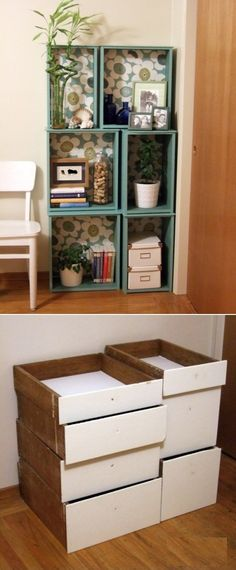 DIY Modular Bookcase Of Salvaged Drawers. Need to remember to do this with my old dresser drawers Drawer Shelves Diy, Drawer Ideas, Repurposed Furniture, Diy Furniture, Bathroom Furniture, Old Drawers, Dresser Drawers, Diy Dressers, Creation Deco