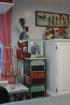 The little Green Bean Craft Room Tour Sewing Room Organization, Craft Room Storage, Home Office Organization, Craft Rooms, Organizing Ideas, Storage Ideas, Turquoise Room, Quilting Room, Decoupage Box