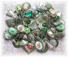 . | Flickr - Photo Sharing! Made this a while back....Lots of Charms and Cameos..Spoon Charms, Beads, Guilloche...Flower Beads