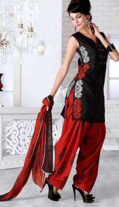Black And Red Color Chanderi Silk Salwar Kameez MYSZ9055. Sale : $75.00