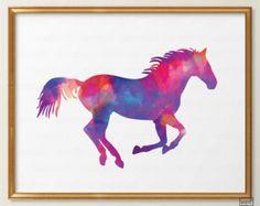 Watercolor Horse Print, Equestrian Watercolor Wall Art, Equestrian Print, Kids Room Decor, Girls Bedroom wall art bathroom print