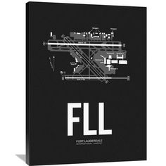 Naxart 'FLL Fort Lauderdale Airport' Painting Print on Wrapped Canvas in Black Size: