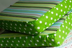Aren't they absolutely fetching for a camper trailer? So much fun! My husband agrees! Here's a tip when sewing cushions: Just do the piping on the front of the cushion. That's the…