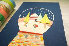 Christmas card made of masking tape. http://peitingtsai.blogspot.tw 聖誕節 明信片 紙膠帶 手繪 在狐狸村水晶球過聖誕節 - PTTPostcard | Pinkoi