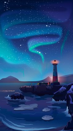 Smartphone wallpaper / Simplistic / Lighthouse / Night / Aurora / List of Cool Blue Background for Android Phone This Month Scenery Wallpaper, Galaxy Wallpaper, Nature Wallpaper, Cool Wallpaper, Mobile Wallpaper, Beautiful Wallpaper, Landscape Illustration, Landscape Art, Night Illustration