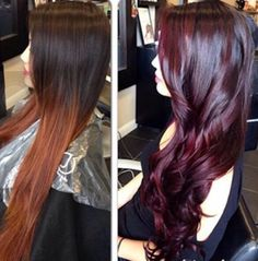Ombre to cherry black hair