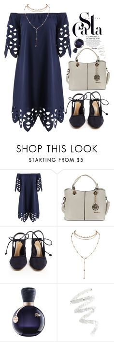"""""""Openwork Off The Shoulder Shift Dress"""" by meyli-meyli ❤ liked on Polyvore featuring The Row, Lacoste, Cynthia Rowley, dress, bluedress, choker and rosegal"""