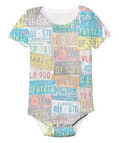 Look at this #zulilyfind! White License Plate Sublimation Bodysuit - Infant #zulilyfinds