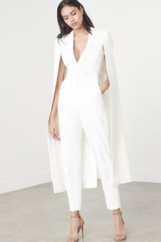 LAVISH ALICE OFF WHITE TAILORED CAPE JUMPSUIT