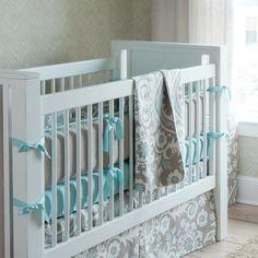 Taupe Suzani Crib Bedding: Taupe and aqua nursery