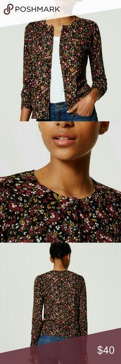 "Floral Cotton Cardigan Super soft, lightweight burgundy floral cardigan. Buttondown, crew neck, ribbed neckline/cuffs/hem. 100% cotton.  Size: Medium Measurements: Bust: 18""  Length: 23""  Sleeve: 26""  Size: Large Measurements: Bust: 20""  Length: 23""  Sleeve: 26""  NO Trade / NO Paypal LOFT Sweaters Cardigans"