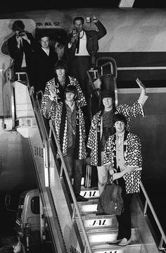 The Beatles arrive at Haneda Airport in Tokyo on June 29, 1966