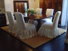 slipcovers for parsons chairs ready made Parsons Chair Slipcovers, Furniture Slipcovers, Parsons Chairs, Furniture Covers, Upholstered Dining Chairs, Parson Chair Covers, Homemade Ottoman, Shabby Chic Dining Room, Dining Rooms