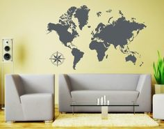 Amazon.com: Detailed World Map Wall Decal by Style & Apply - Educational Wall Decal, Map Sticker, Vinyl Wall Art, Geography Decor - 3712 - Dark gray, 39in x 25in: Home & Kitchen
