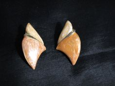 80s Earrings Pierced Peach Earrings Fashion by greenleafvintage1, $9.99