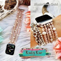 So much prettier in person & they beautiful layered with other bracelets too! Cute Apple Watch Bands, Apple Watch Bands Fashion, Apple Watch Bracelets, Bracelet Watch, Charm Bracelets, Apple Watch Accessories, Jewelry Accessories, Iphone Watch Bands, Glasses For Your Face Shape