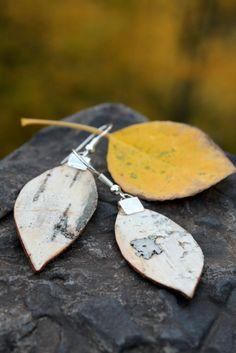 Birch bark  earrings, Leaf Design, Nature Girl. $19.99, via Etsy.