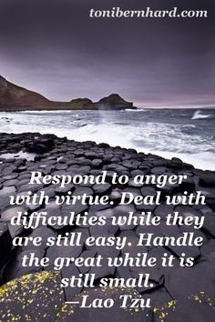 Respond to anger with virtue. Deal with difficulties while they are still easy. Handle the great while it is still small. Lao Tzu Quotes, Soul Quotes, Favorite Quotes, Best Quotes, Taoism, Buddhism, Tao Te Ching, Card Sayings, Knowledge And Wisdom