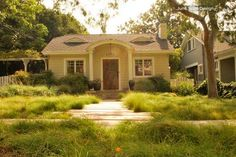 Clustered field sedge gives this front lawn a unique, unconventional look. The eco-friendly plant can tolerate almost any condition. Do a little  research on the different varieties of sedge to find just the right one for your lawn.