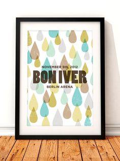 Bon Iver poster art, Bon Iver poster print, music inspired print, Bon Iver gig poster, Bon Iver, Bon Iver concert poster, concert poster