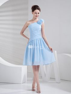 Light Sky Blue One-shoulder Chiffon A-line Shank Length Bridesmaid Dress. Shorter style dresses are always a favorite for wedding party members. Theyre fun, comfortable and come in a variety of styles to suit any tastes. This one features a one strap bodice with a gathered pattern. The strap.. . See More Bridesmaid Dresses at http://www.ourgreatshop.com/Bridesmaid-Dresses-C926.aspx