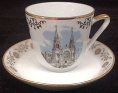 "Vintage Kahla Konitz East German Tea Cup ""St. Anne De Beaupre, Quebec"""