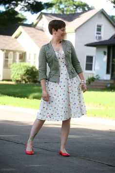 Already Pretty outfit featuring military jacket, polka dot dress, neon ballet flats