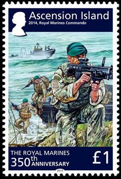 Stamp: Royal Marines Commando, 2014 (Ascension Island) Anniversary of the Royal Marine) Mi:AC 1208 Ascension Island, Marine Commandos, King And Country, Royal Marines, Armed Forces, Stamps, Arms, Anniversary, Baseball Cards