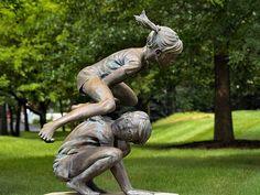 """'Frog Legs"""" bronze sculpture by Gary Aslum at Byer's Choice Sculpture Garden, Chalfont, PA. Garden Frogs, Garden Art, Garden Statues, Garden Sculptures, Metal Sculptures, Wood Sculpture, 3d Street Art, Wassily Kandinsky, Outdoor Art"""