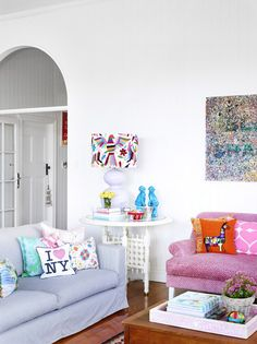Pink couch from Black & Spiro, Richard Bell painting above couch. Photo - Toby Scott, production – Lucy Feagins / The Design Files Home Living Room, Living Spaces, Home Interior, Interior Design, Pink Couch, Above Couch, Colourful Living Room, Eclectic Design, The Design Files