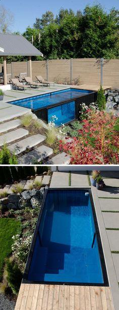 Belebende Gartengestaltung mit kleinem Tauchbecken mit treppe - gartengestaltung mit kleinem pool