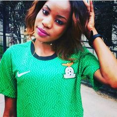 Cute Zambian Fans  A styled and cute Mwansa celebrates her passions for the #chipolopolo in the national team fashion.  See here for more http://zedsoccer.com/fans-in-the-zambian-football/ #Zedsoccer #MTNFAZ #BUYZAMBIAN
