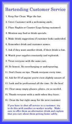 Bartending Customer Service Checklist