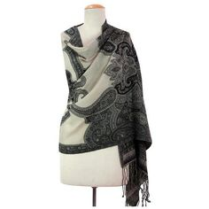 NOVICA Wool Embroidered Shawl with Paisley Motif from India ($43) ❤ liked on Polyvore featuring accessories, scarves, clothing & accessories, grey, shawls, wool shawl, embroidered shawl, evening shawl, floral shawl and paisley shawl