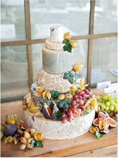 Wedding cake made out of cheese & fruit – a new take on the cheese platter! @ Wedding-Day-Bliss