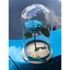 Gorgeous dome with blue eternal rose . Delivery worldwide! Contact us: contact@buchetino.com.   The rose is eternal and we guarantee that the rose will last for at least 3 years.