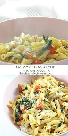 healthy dinner recipes videos Creamy Tomato Spinach Pasta is whats for dinner tonight! Its full of fresh flavors, like tomato and spinach, and ready in minutes. Farfalle Recipes, Baked Pasta Recipes, Healthy Pasta Recipes, Healthy Pastas, Easy Dinner Recipes, Vegetarian Recipes, Cooking Recipes, Vegan Vegetarian, Salad Recipes