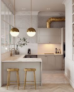bearing in mind it comes to designing a small kitchen, the key should always be creativity. look how these top interior designers used small kitchen Kitchen Decor, Home Decor Kitchen, Kitchen Style, Apartment Kitchen, House Interior, Interior, Modern Kitchen Tables, Kitchen Remodel, Modern Kitchen Design