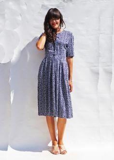 Vintage 1980s Short Sleeve Polka Dot Dress - Dress - Ada's Attic Vintage - 2