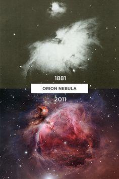 Orion Nebula, 1881 vs. 2011 via Imgur