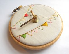 Ice Cream Bunting Hand Embroidered Mini Wall Clock | 30 Wall Clocks