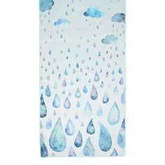 Long Raindrops & Clouds Cashmere & Modal Scarf in Aqua