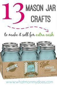 13 Mason Jar Craft Tutorials - Extra Cash Edition - Mason jars beautiful & unique enough to make and sell at craft fairs and flea markets! All easy DIY ideas anyone can do,even kids and teens. Part of a series on things to make and sell as a way to make e Mason Jar Projects, Mason Jar Crafts, Mason Jars, Bottle Crafts, Glass Jars, Easy Diy Crafts, Diy Crafts To Sell, Selling Crafts, Sell Diy