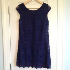 Lace Mini Dress Super cute navy blue fitted mini dress. It's crocheted lace with a slip liner. The material is stretchy, so easy to dress up or down! Excellent condition, only worn once. Xhilaration Dresses Mini