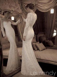 ivory long sleeves mermaid lace wedding dress floor length. $289.00, via Etsy.