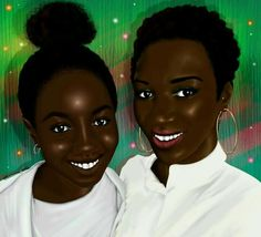 Commissioned Work titled 'Mom and Daughter' Inbox to order your custom image Art Corner, Black Characters, Black Pride, Mom Daughter, African Women, Black Is Beautiful, Black Art, Daydream, Natural Hair Styles
