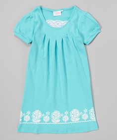 Look at this #zulilyfind! Blue Flower Lace Pleated Dress - Girls by Modest Boutique #zulilyfinds