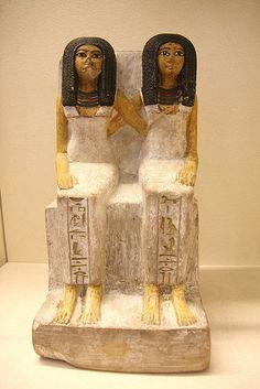 Painted group of females from ancient Egypt. Deir el-Medina. XVIII Din. Limestone. Museo Egipcio Turin.
