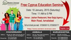 Cyprus is more affordable yet qualitative than most other study abroad destinations with excellent living condition and a tolerant multicultural society.  Western Overseas introduces a golden opportunity for those who want to study in Cyprus. Join a FREE Cyprus Education seminar on 10th January, 2015 at 11 a.m. in Ismailabad.