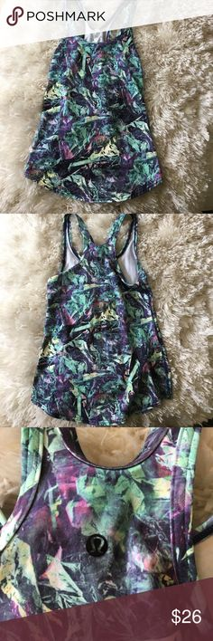 LULULEMON patterned workout tank l Size 6 lululemon workout tank. Teal purple and lots of design. Great shape! Only worn a few times! lululemon athletica Tops Tank Tops